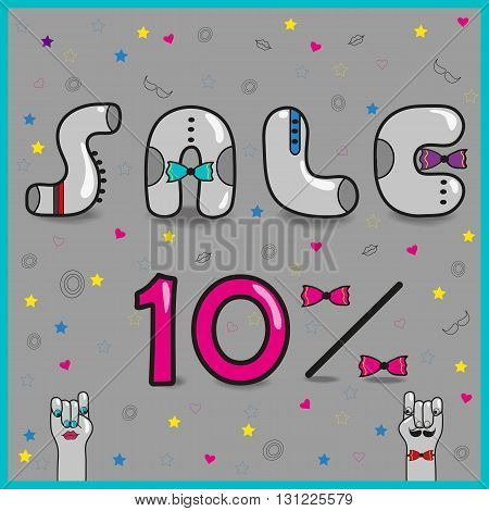 Inscription sale with hipster style. Sale. Ten percents. Vector Illustration