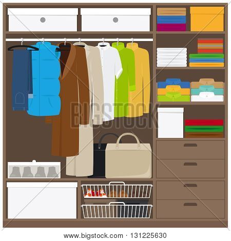 Men cloths wardrobe wuth different types of clothes. Vector illustration