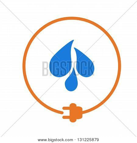 Water drops in a circle with plug as symbol of eco-friendly energy source