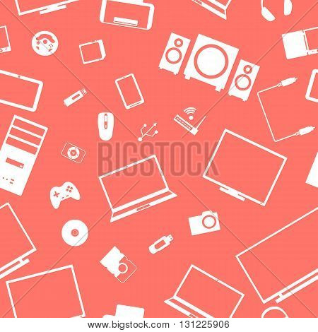 Seamless background from a set of digital devices and computer accesories vector illustration.