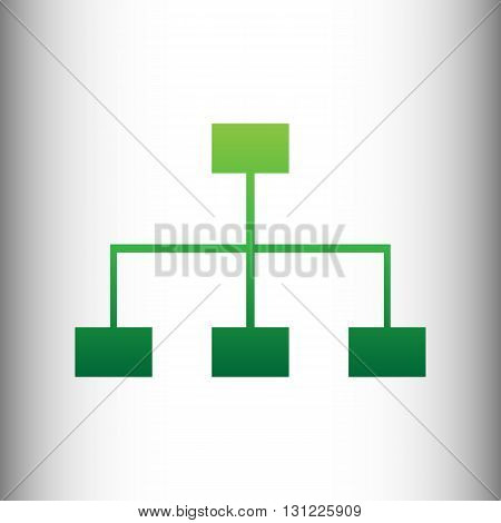 Site map sign. Green gradient icon on gray gradient backround.