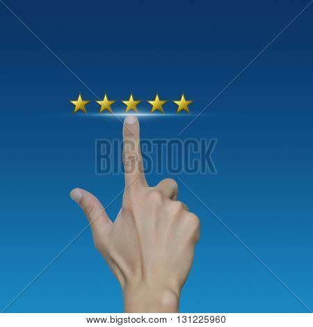 Hand click on five gold stars to increase rating on blue background Feedback concept