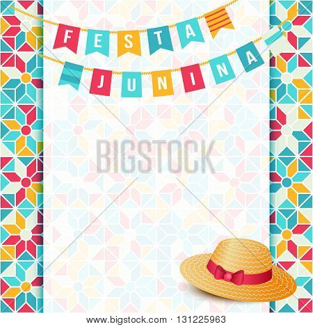 Festa Junina illustration - traditional Brazil june festival party - Midsummer holiday. Carnival background - two strings of flags words Festa Junina thatched hat and abstract festive background.