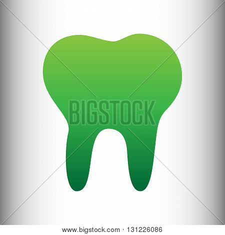 Tooth sign. Green gradient icon on gray gradient backround.