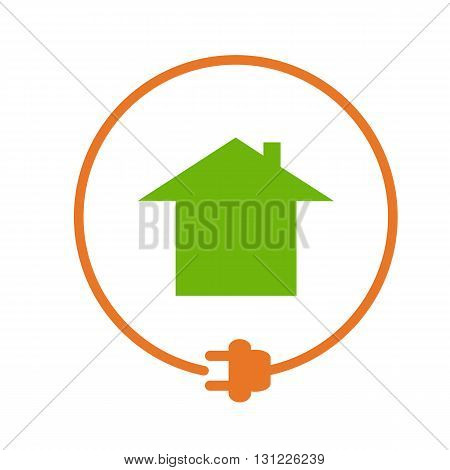House in the circle with plug, electricity supply