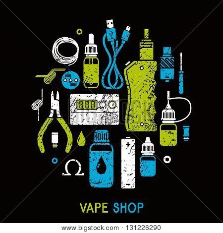 Vector illustration of vape and accessories accessories for vape shop e-cigarette store. Vape icons set Isolated on black background.