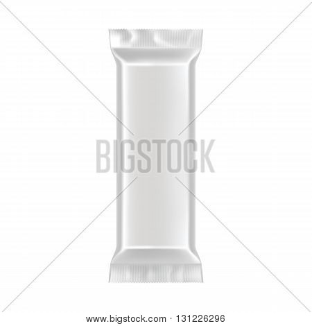 Blank packaging isolated on white background. Foil food snack bag for coffee, chips. Package template. Realistic 3d mockup. Plastic pack template. Ready for design. Vector illustration.