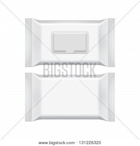 Blank packaging wet wipes isolated on white background. Foil cosmetic bag. Package template. Realistic 3d mockup. Plastic pack template. Ready for design. Vector illustration.