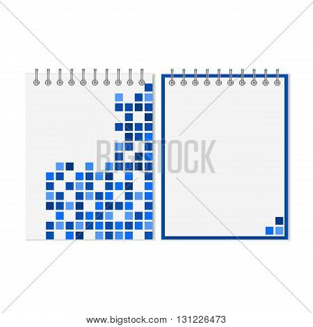 Spiral notebook with blue geometric pattern on cover