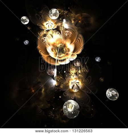 Abstract colorful golden flowers with silver drops on black background. Fantasy fractal design for postcards or t-shirts.