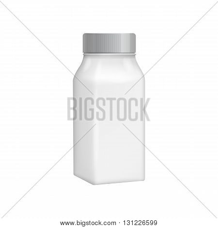 Plastic bottle template. For milk or yogurt product. Blank packaging solated on white background. Package template. Realistic 3d pack mockup. Ready for design. Vector illustration.