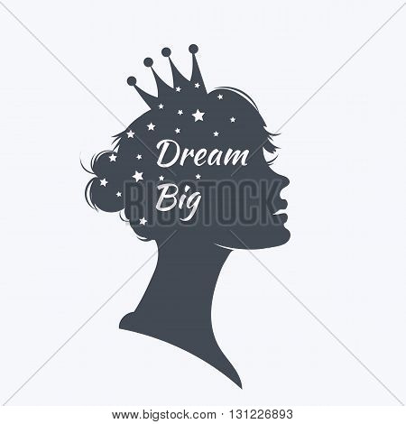 Fantasy princess silhouette with motivation text
