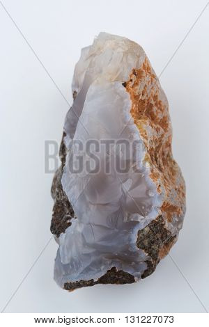 Natural blue agate on a white background.
