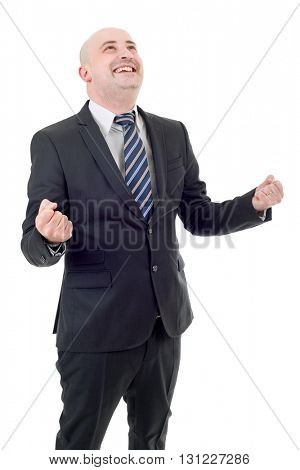 young business man winning, isolated on white