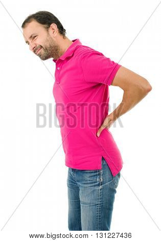 caucasian man portrait backache pain portrait on studio isolated white background
