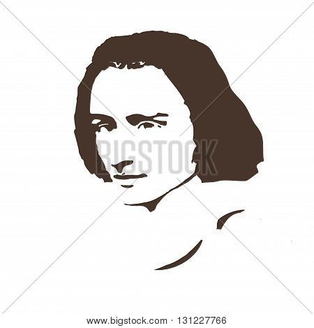 portrait of the composer and musician  Ferenc Liszt