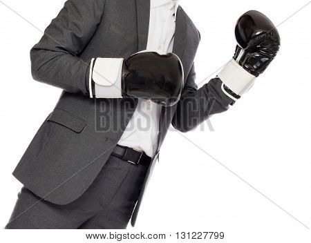 Businessman in boxing gloves isolated on white