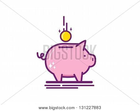 Piggy bank vector icon in modern line style. Vector illustration.