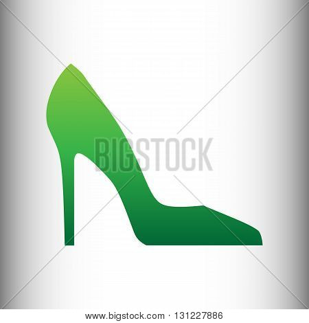 Woman shoe sign. Green gradient icon on gray gradient backround.