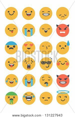 Set of vector flat emoticons. Emoji icons isolated on white background. Different emotions collection.