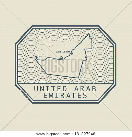 Stamp with the name and map of United Arab Emirates, vector illustration