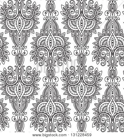 Vector seamless pattern with hand drawn asian paisley ornament.  Amulet with ethnic design.  Black and white beautiful endless background.