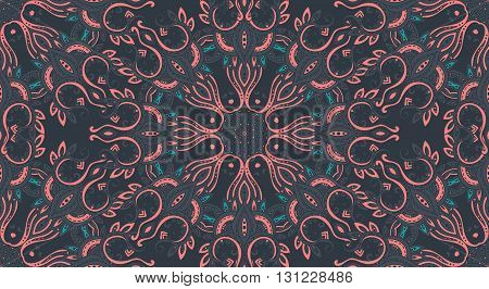 Vector seamless pattern with hand drawn asian paisley ornament.  Amulet with ethnic design.  Dark beautiful endless background.