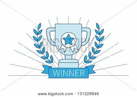 Win and success concept. Business concept of winning goal achievement success in thin line style. Vector illustration.