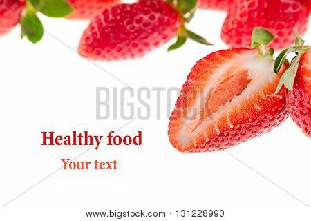 Cut strawberry on a white background. Isolated. Sliced strawberry on strawberry background. Strawberry background. Macro. Texture. Frame with copy space. Fruit background. Spring summer background.