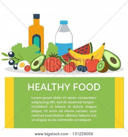Healthy food concept banner with text place. Vector illustration.