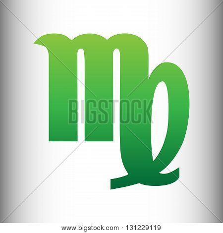 Virgo sign. Green gradient icon on gray gradient backround.