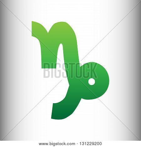 Capricorn sign. Green gradient icon on gray gradient backround.