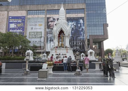 BANGKOK THAILAND - APR 17 : Trimurati shrine at Central world in Ratchaprasong area on april 17 2016. Thailand. thare are many shrine gods in Ratchaprasong area