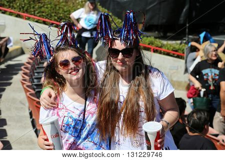 IRVINE, CALIFORNIA - May 22: Fans and Supporters show their support for Bernie Sanders at a Rally in Irvine, California on May 22, 2016