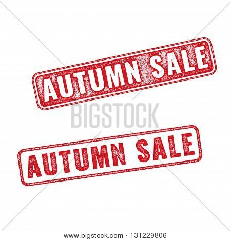 Two textured stamps Autumn sale. Vector realistic Autumn sale imprints isolated on white background