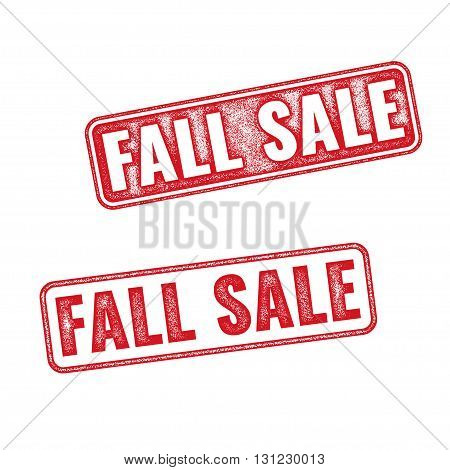 Two textured stamps Fall sale. Vector realistic Fall sale imprints isolated on white background