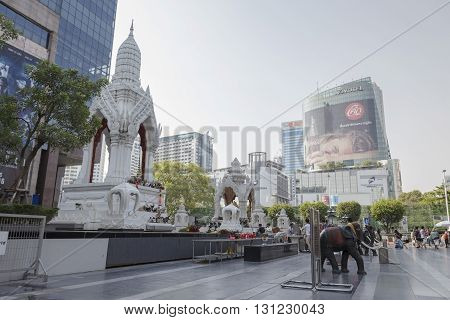 BANGKOK THAILAND - APR 17 : Trimurati shrine and Ganesha shrine at Central world in Ratchaprasong area on april 17 2016. Thailand. thare are many shrine gods in Ratchaprasong area