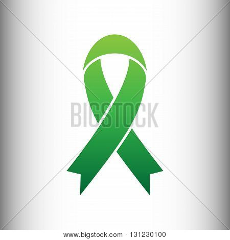 Black awareness ribbon sign. Green gradient icon on gray gradient backround.