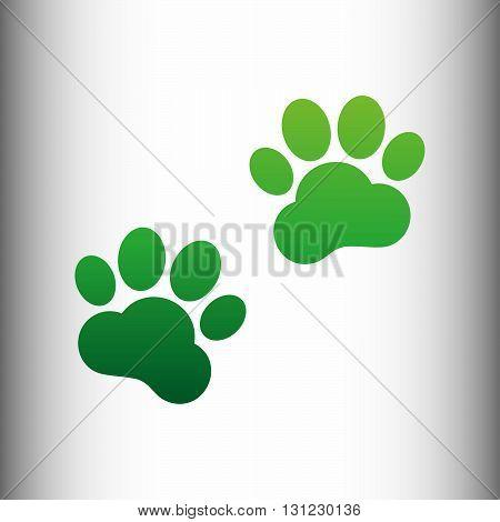 Animal Tracks sign. Green gradient icon on gray gradient backround.