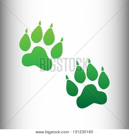 Animal Tracks sign. Green gradient icon on gray gradient backround.