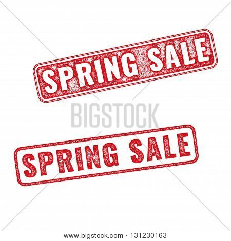 Two textured stamps Spring sale. Vector realistic Spring sale imprints isolated on white background