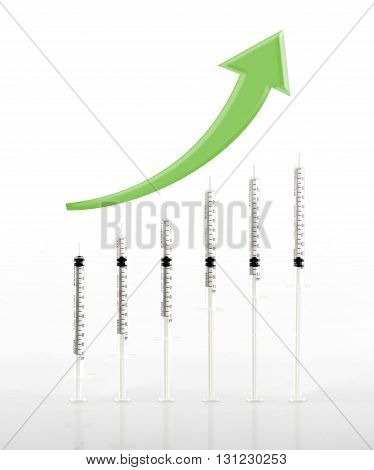 Green Arrow Raise Up Above Syringe Use As Graph On Glossy Floor, Concept Idea For Medical Business