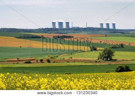 Nuclear Power Plant In Spring Countryside