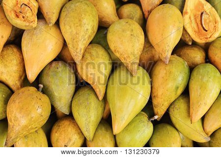 Sapodillas India in the market, norther of Thailand.