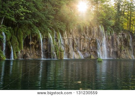 Beautiful view of waterfalls in Plitvice lake, Croatia