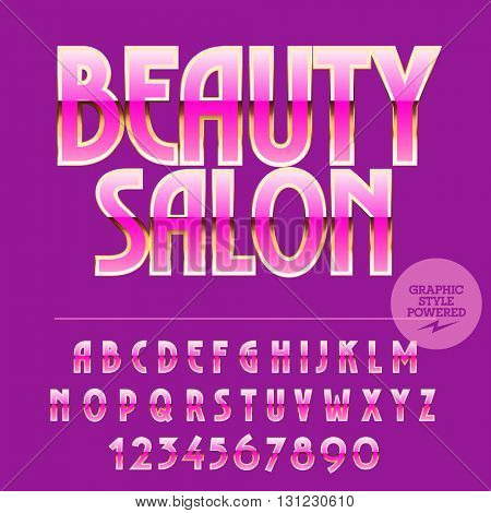 Glamour set of pink and gold alphabet letters, numbers and punctuation symbols. Vector logo with text Beauty salon