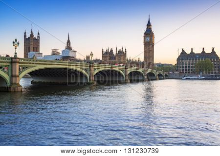 Big Ben and Westminster Bridge in London at sunset, UK