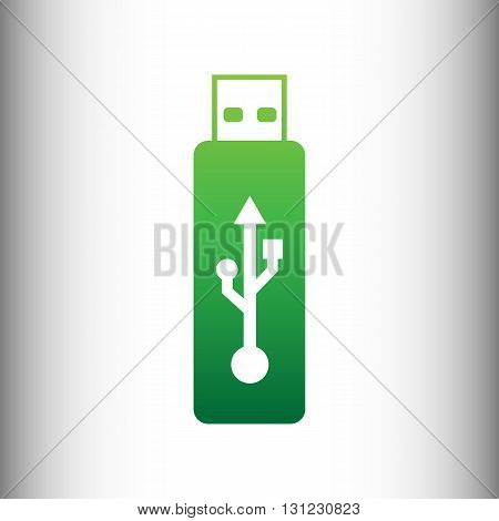 Vector USB flash drive sign. Green gradient icon on gray gradient backround.