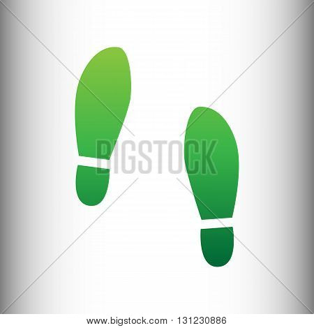 Imprint soles shoes sign. Green gradient icon on gray gradient backround.