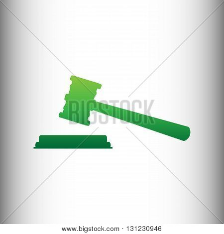 Justice hammer sign. Green gradient icon on gray gradient backround.